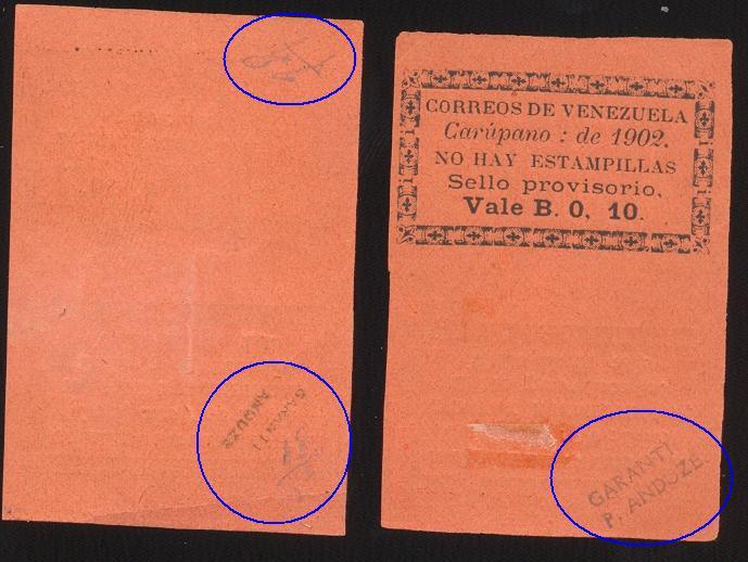 10cts Falsos de Carúpano 1902 firmadas por Roura y Anduze