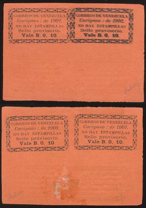 Hoja de 4 falsa del 10cts de Carúpano 1902