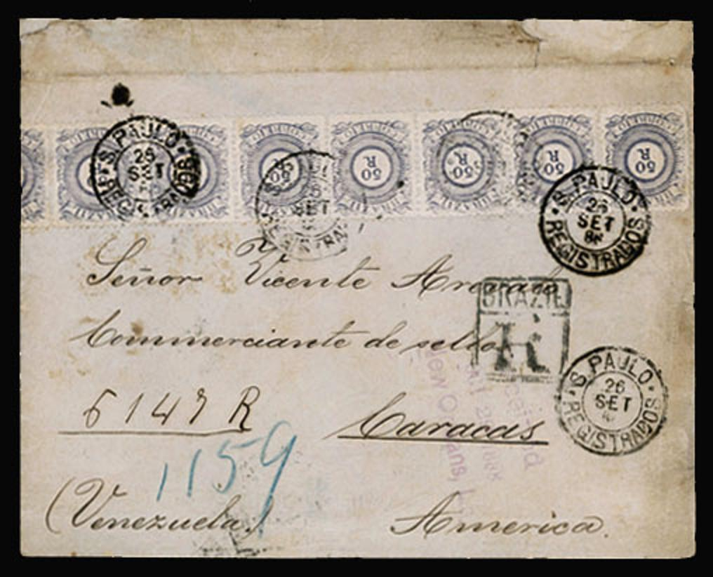 Cover from Brazil to Venezuela 1886