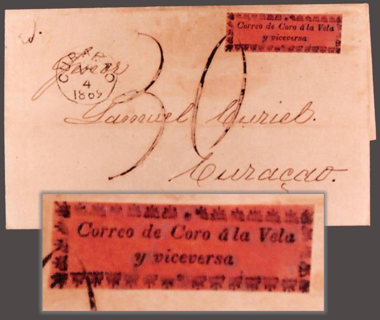 Cuarta Serie - Sobre Circulado con Subtipo III: Enviado a Curazao y recibido el 04/04/1869. Sobretasado
